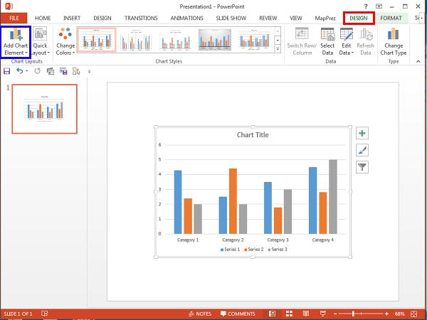 Chart Tools Design tab selected