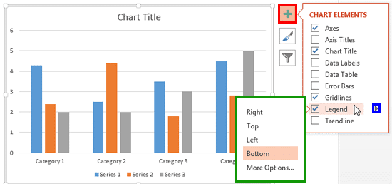 Legend options accessed without using contextual chart tab