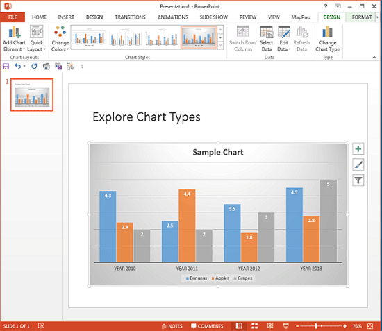 Chart Style applied in PowerPoint