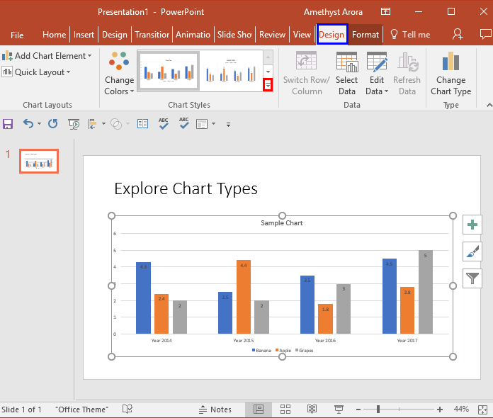 Design tab for the Chart selected