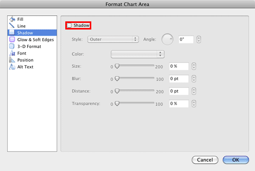 Shadow options within the Format Chart Area dialog box