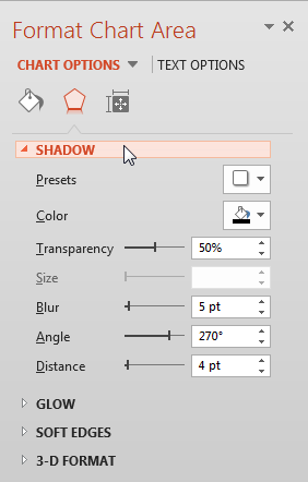 Shadow Effect options
