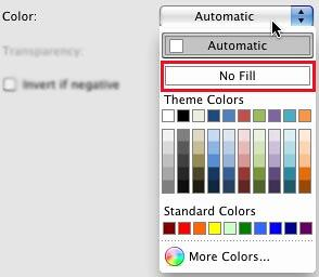 No Fill option within Color gallery