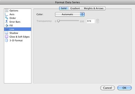 Line options within Format Data Series dialog box