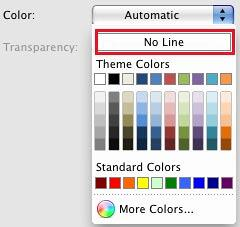 No Line option within Color gallery of Format Data Series dialog box
