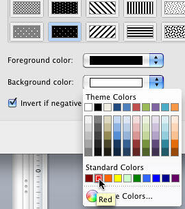 Background color selected for negative values