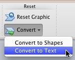 Convert to Text option selected