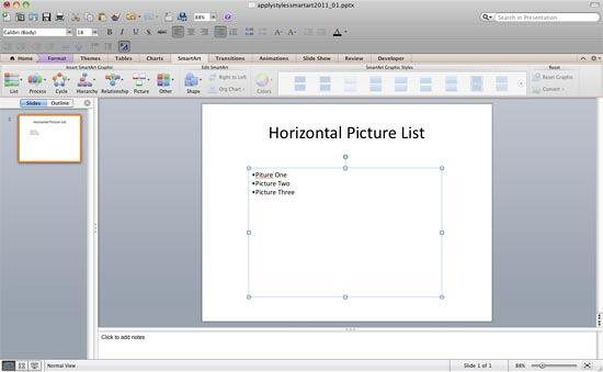 SmartArt graphic converted into a bulleted list