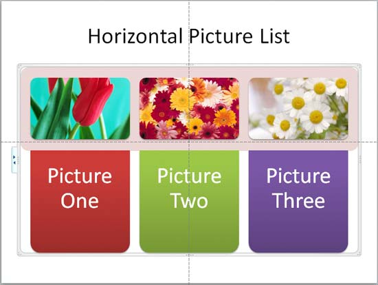 Horizontal Picture List SmartArt with text
