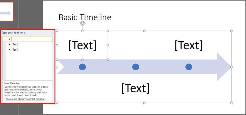 Basic Timeline SmartArt graphic added on the slide