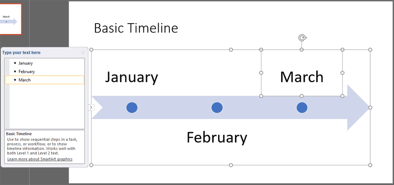 Text added within the Basic Timeline SmartArt graphic