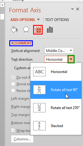 Select Rotate all text 90° option