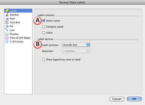 Format Data Labels dialog box