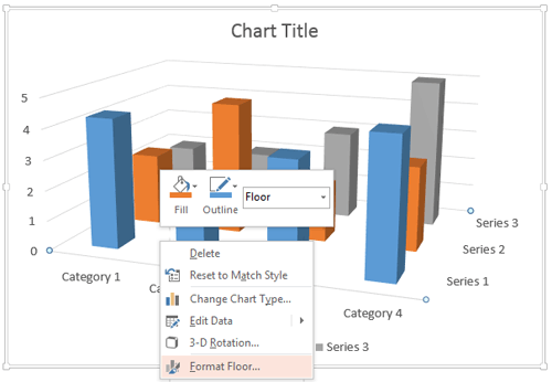 Right-click only the Chart Floor to access Format Floor option
