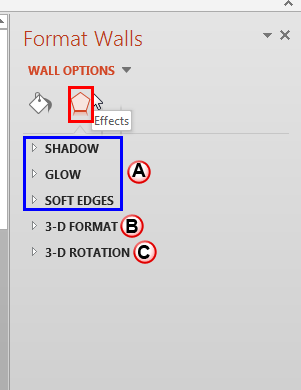 Effects within the Format Walls Task Pane