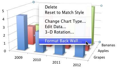 Right-click (or Ctrl+click) only the Back wall to access Format Back Wall option