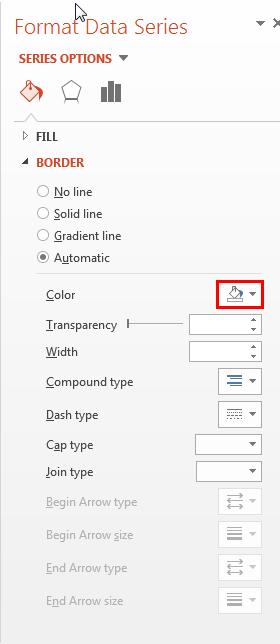 Border editing options within Format Data Series Task Pane