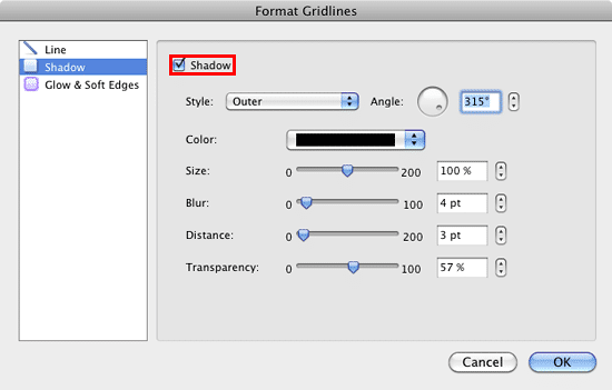 Shadow options within the Format Gridlines dialog box