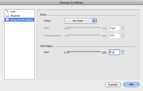 Glow & Soft Edges options within the Format Gridlines dialog box