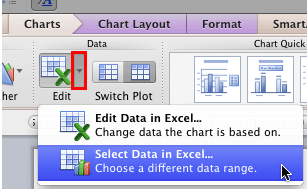 Select Data in Excel option