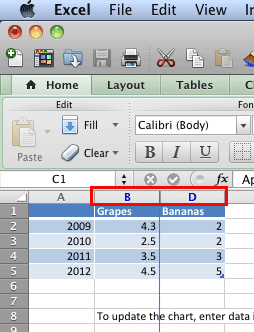 Series hidden within the Excel data