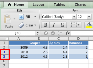 Category hidden within the Excel data
