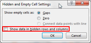 Hidden and Empty Cell Settings dialog box