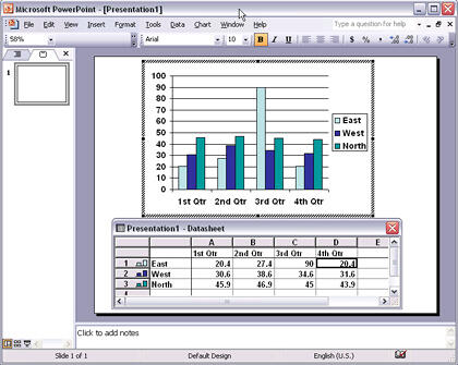 Chart with datasheet