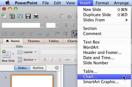 Insert Chart menu option