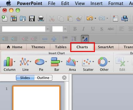 Insert Chart group within Charts tab of the Ribbon