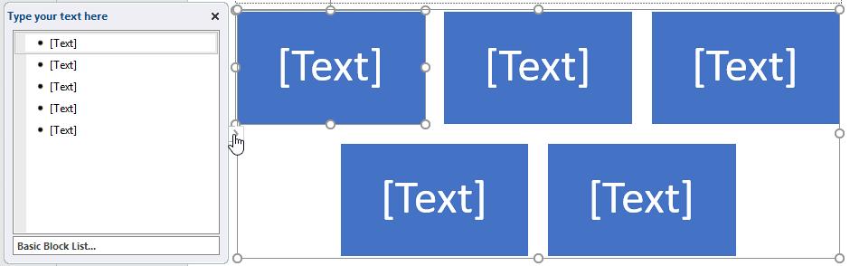 SmartArt graphic text pane