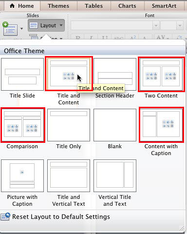 Slide layout with a content placeholder selected