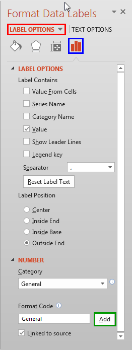 Label Options within Format Data Labels Task Pane