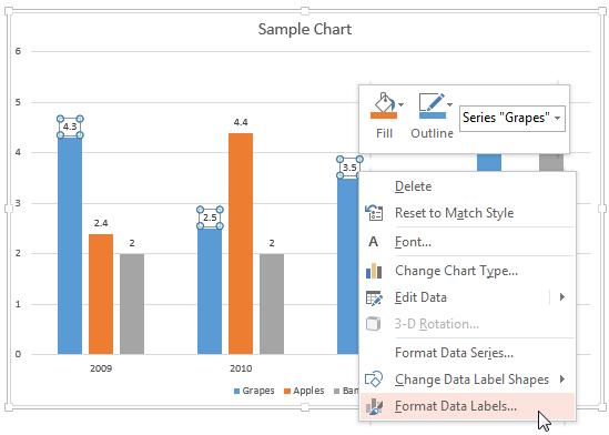 Format Data Labels option