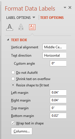 Text box options for chart data labels