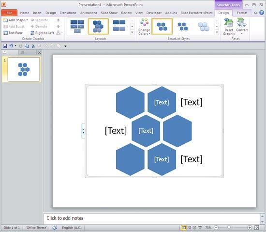 Alternating Hexagons SmartArt graphic