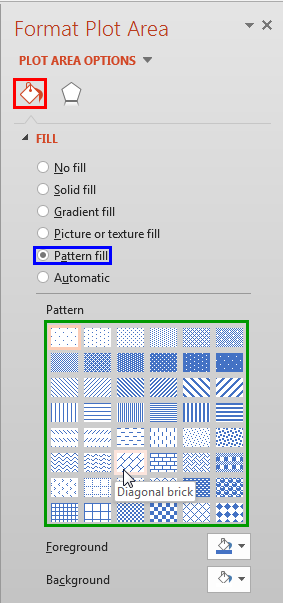 Pattern fill option selected
