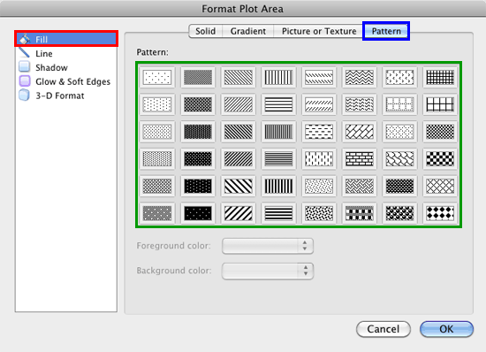 Pattern previews within the Format Plot Area dialog box