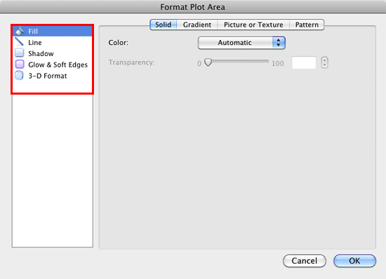 Format Plot Area dialog box