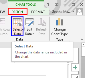 Chart Tools Design contextual tab of the Ribbon