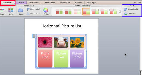 Horizontal Picture List SmartArt with customized color and style