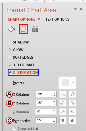 3D Rotation options within the Format Chart Area Task Pane