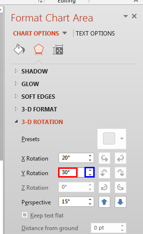 Y axis rotation changed to 30 degrees