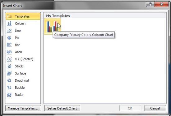 Chart Template within Insert Chart dialog box