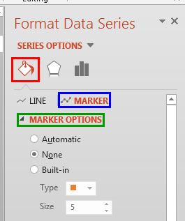 Marker options within the Format Data Series Task Pane