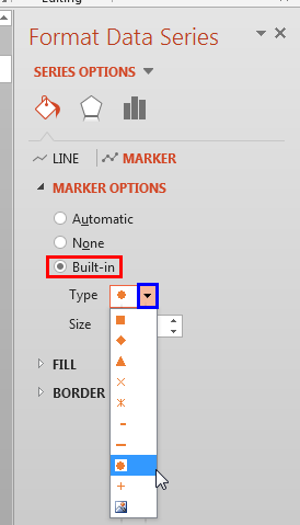 Marker type selected