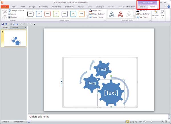 SmartArt Tools Format tab selected
