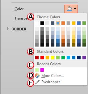 Color drop-down gallery