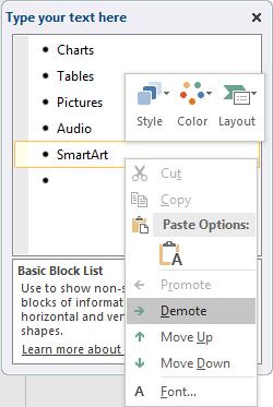 Contextual menu within the Text Pane