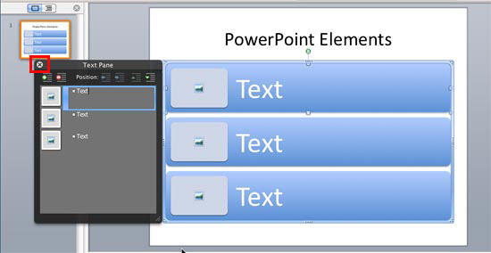 SmartArt graphics Text Pane